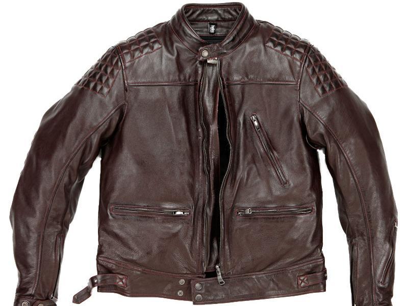 Blouson cuir moto bordeaux