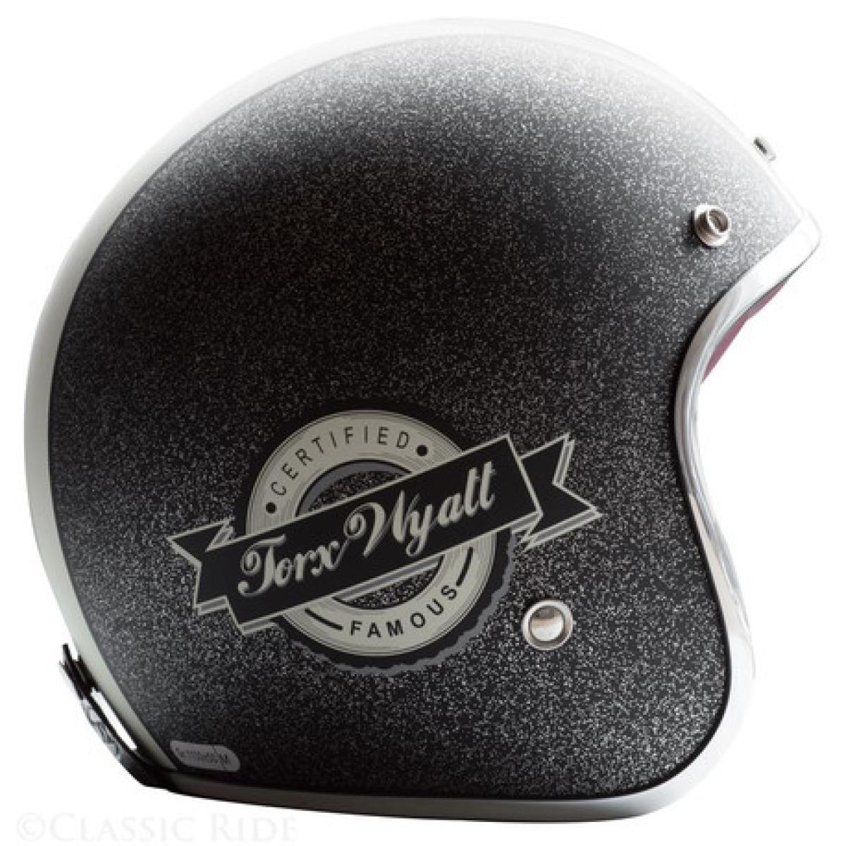 Casque Moto Jet Torx Wyatt Famous Matt Charcoal