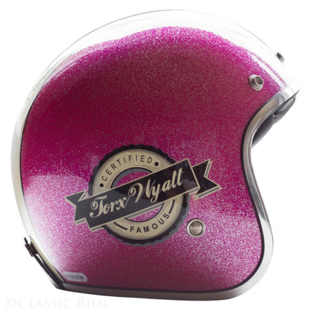Casque Moto Jet Torx Wyatt Famous Shiny Glitter Pink