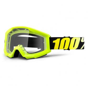 MASQUE CROSS ENDURO 100% STRATA JUNIOR NEON JAUNE FLUO ECRAN CLAIR 2018