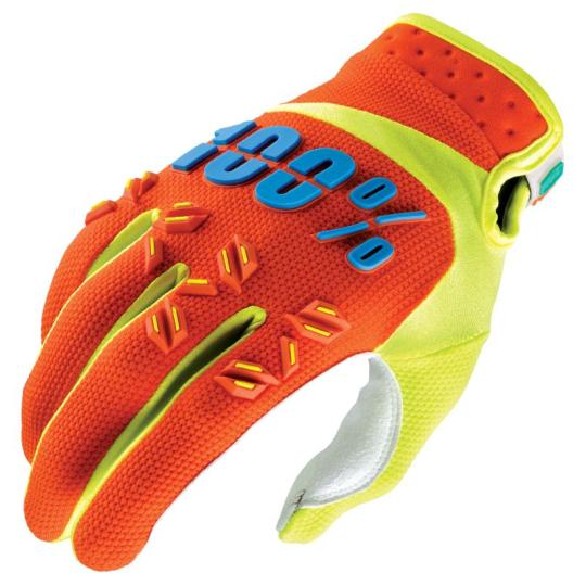 GANTS MOTOCROSS ENFANT 100% AIRMATIC ORANGE FLUO / JAUNE FLUO