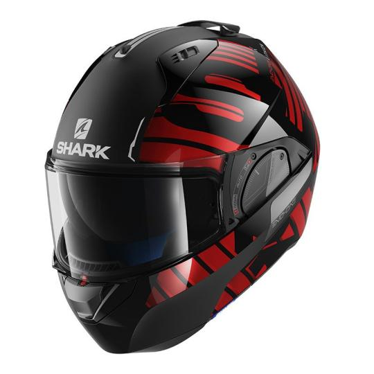 CASQUE MOTO CONVERTIBLE SHARK EVO-ONE 2 LITHION DUAL KUR ROUGE