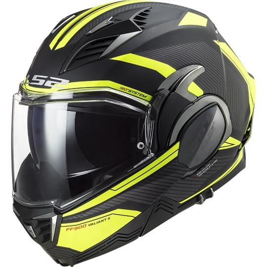 CASQUE CONVERTIBLE LS2 FF399 VALIANT PROX MATT H-V YELLOW / BLACK