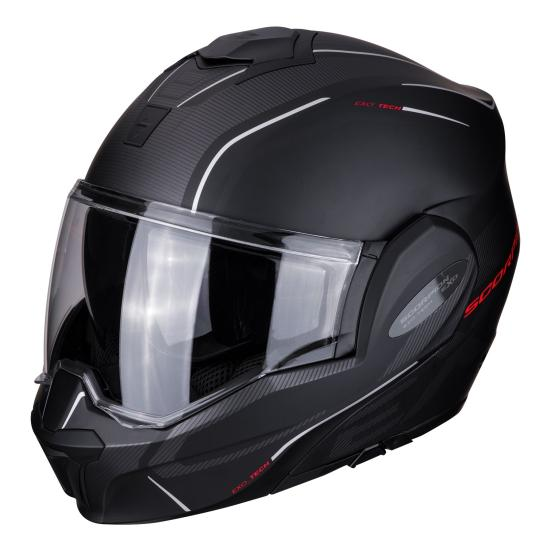 CASQUE MOTO CONVERTIBLE SCORPION EXO TECH - TIME OFF - MAT NOIR / ROUGE