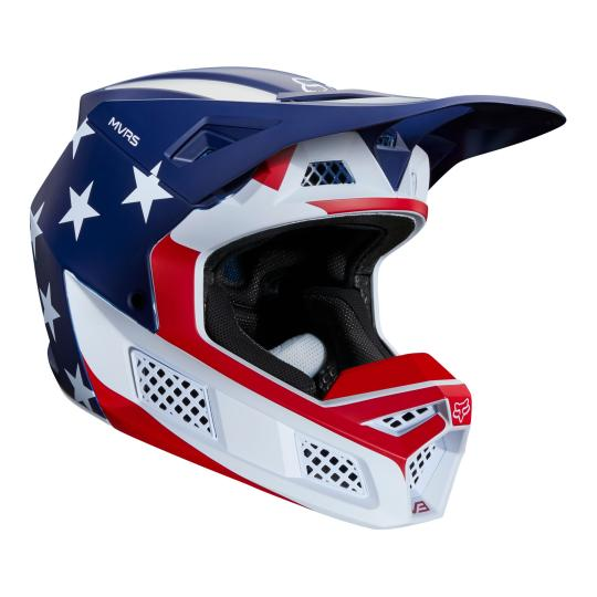 CASQUE MOTO CROSS FOX V3 - PREY - WHITE RED BLUE 2020