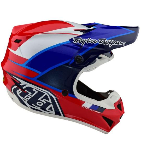 CASQUE MOTO CROSS TROY LEE DESIGN SE4 POLYACRYLITE - BETA - RED BLUE 2020