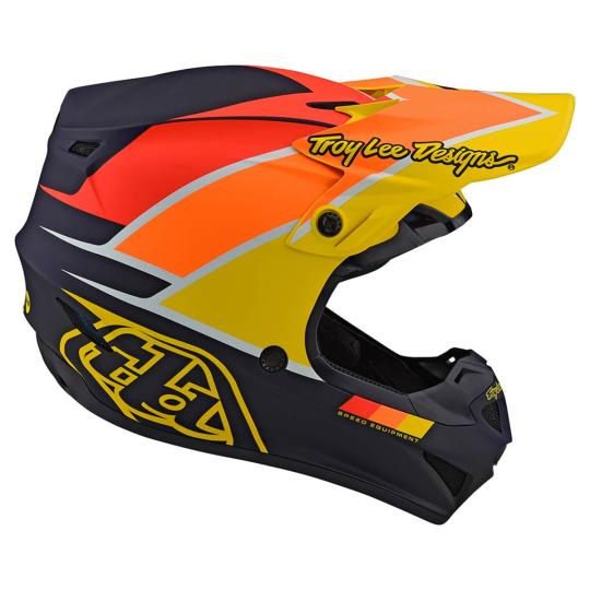 CASQUE MOTO CROSS TROY LEE DESIGN SE4 POLYACRYLITE - BETA - NAVY YELLOW MATT 2020