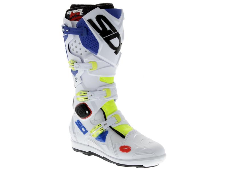 bottes off road bottes cross botte cross sidi crossfire 2 srs bleu jaune blanc. Black Bedroom Furniture Sets. Home Design Ideas