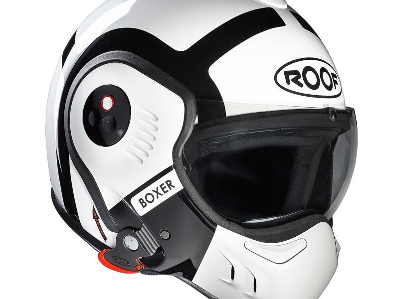 casques modulable casque moto modulable roof boxer v8 bond blanc noir. Black Bedroom Furniture Sets. Home Design Ideas