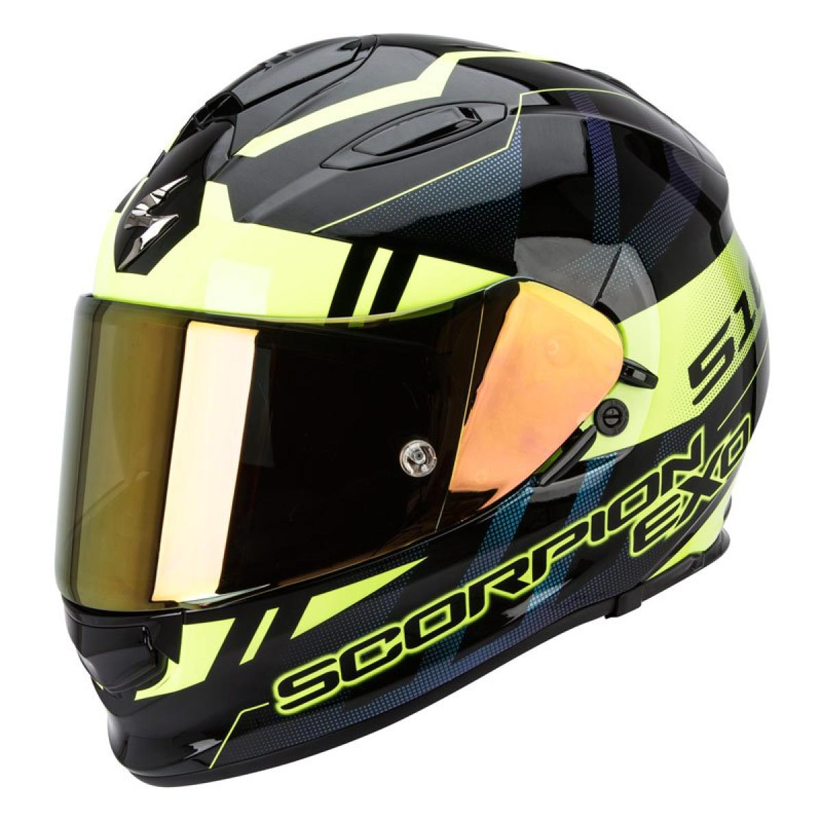 casque moto integral scorpion exo 510 air stage noir jaune fluo. Black Bedroom Furniture Sets. Home Design Ideas
