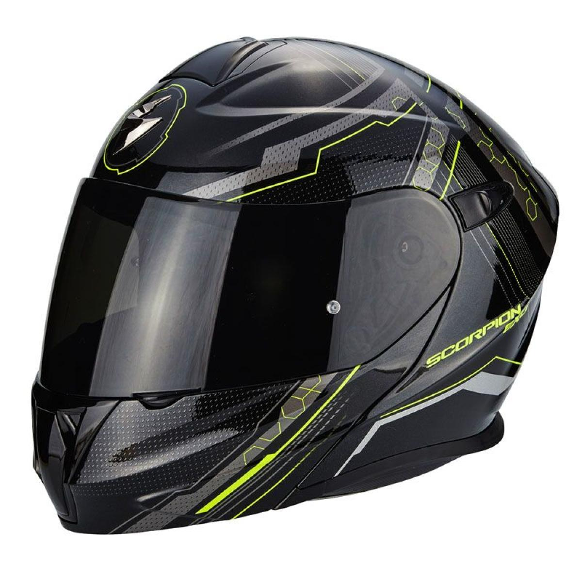 casque moto modulable scorpion exo 920 satellite noir jaune fluo. Black Bedroom Furniture Sets. Home Design Ideas