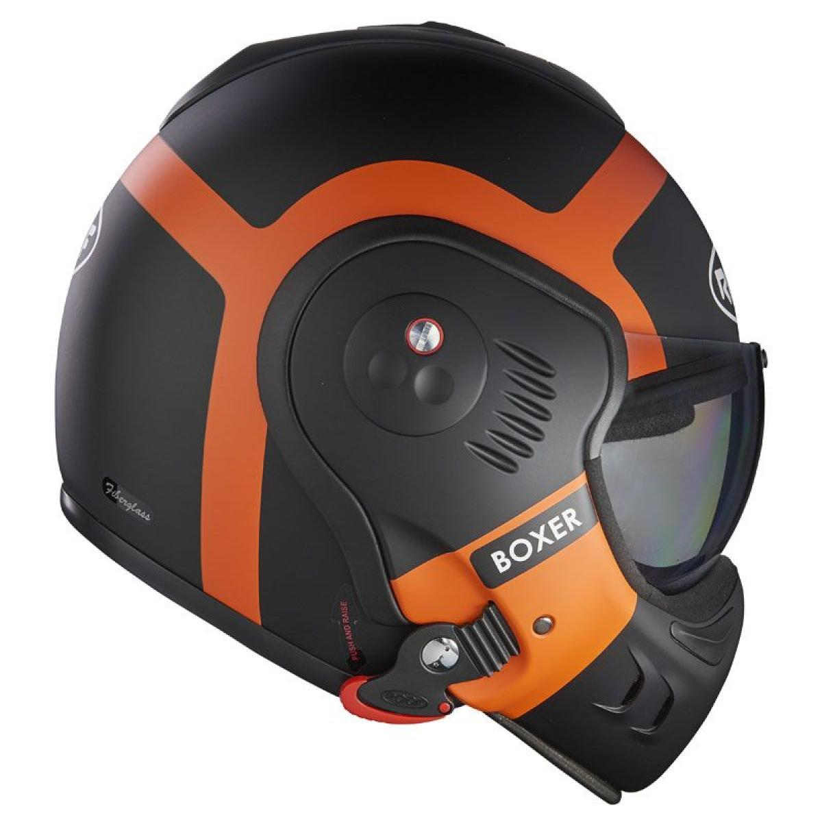 casque moto modulable roof boxer v8 bond noir mat orange. Black Bedroom Furniture Sets. Home Design Ideas