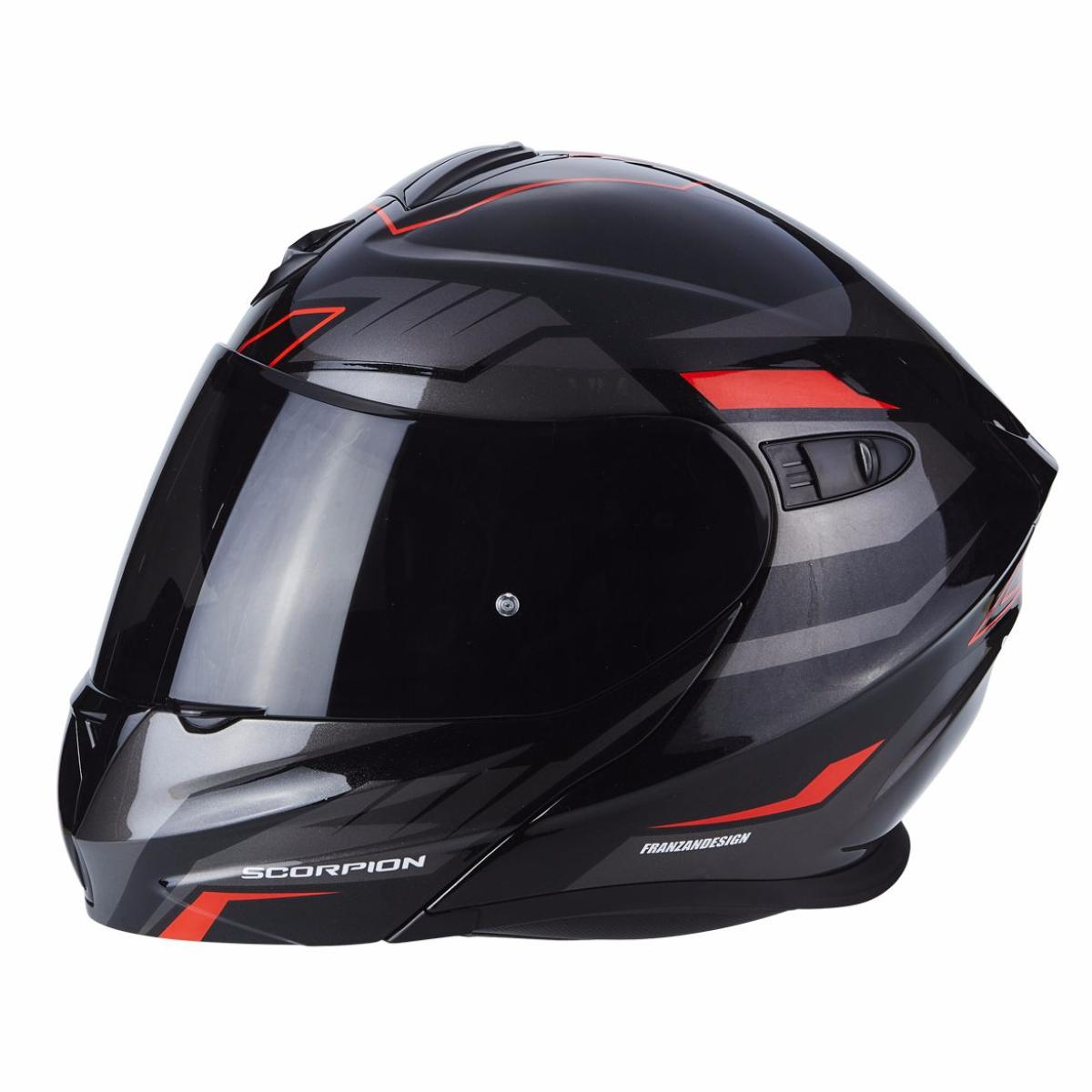casque moto modulable scorpion exo 920 shuttle noir rouge. Black Bedroom Furniture Sets. Home Design Ideas